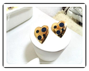 Retro Pop-ART Earrings - Vintage Retro Pop-ART Black Heart w Multicolored Rhinestones - Pierced Earrings   E359a-030813010