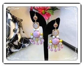 Dangling Pierced Earrings - Large Pink, Yellow and White Dangling Pierced Earrings - E3337a-090913000