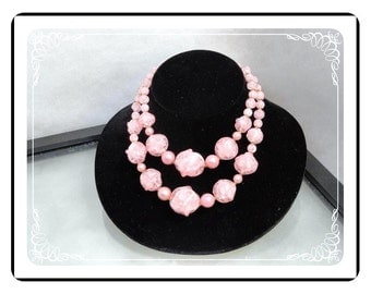 Pink Rock Candy Necklace - Vintage Lucite Bead -Double Strand Western Germany   1074a-120312000