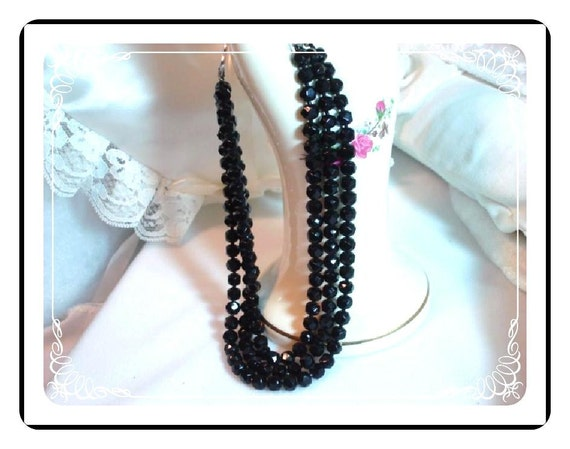 Black Multi-strand Necklace - Sparkling Faceted Japan Beads   Neck-1165a-012312000