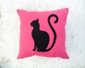 Black Cat pillow cover - Pink linen pillow with felt cat - Meow Cat Lovers - Gift for her for children for mom - Ready to Ship - Sitting cat