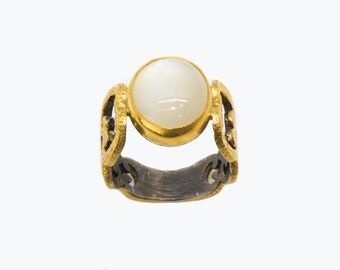 24karat pure gold , sterling silver and moonstone ring
