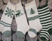 FOR 2016!!Hand knit Christmas Stocking White and Dark Green  with tree deer snowflake ornaments Personalized
