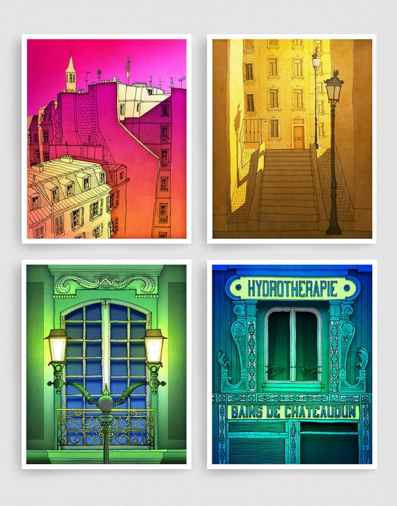 Any FOUR Prints - Save 30%,Set of four Illustrations,Paris Illustration Art Prints Poster Home decor Wall art Mixed media Paris Architecture