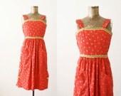 1960s Dress - Vintage Red Sundress - Sleeveless Floral Dress - XS