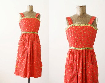 Red Floral Sundress / 1960s Strappy Dress / Vintage Womens Sundress Small