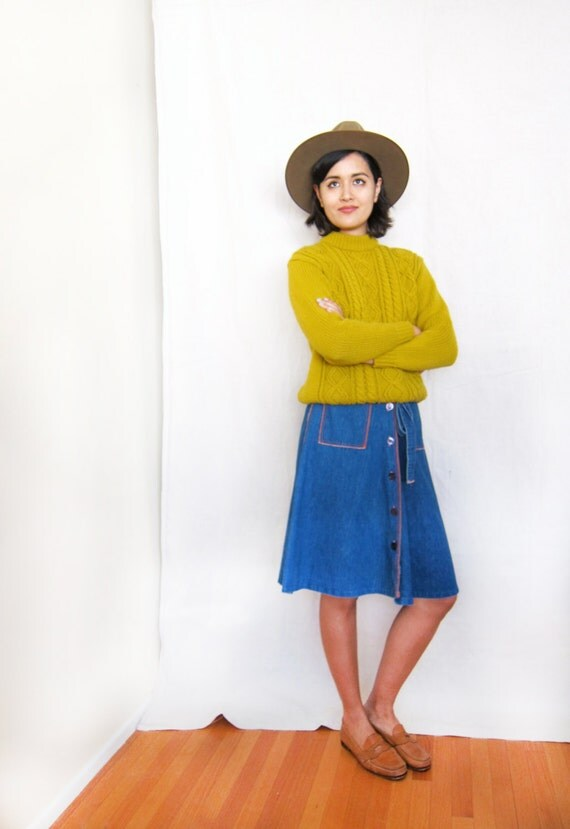 mustard yellow sweater - cable knit sweater - 60s womens knit sweater