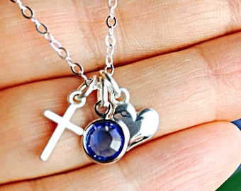 All Sterling Birthstone Charm Heart Cross Necklace, Dainty Love Friendship Family Personalized Cross Jewelry