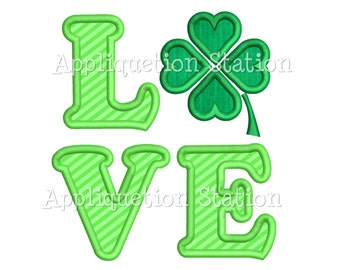 LOVE Shamrock St. Patrick's Day Applique Machine Embroidery Design Pattern lucky 4 leaf clover INSTANT DOWNLOAD