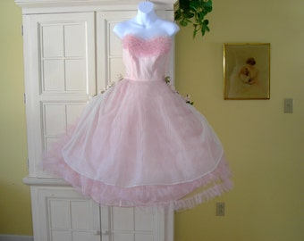 """50's """"Pretty  in Pink"""" prom dress, pink tulle and white eyelet, strapless, bust- 34"""""""