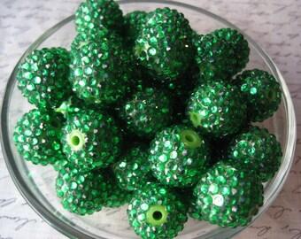 10 Green Disco Ball Beads, Clover Green Rhinestone Bead, 20mm Bumpy Chunky Necklace Bead, Gumball Beads, Bubblegum Bead