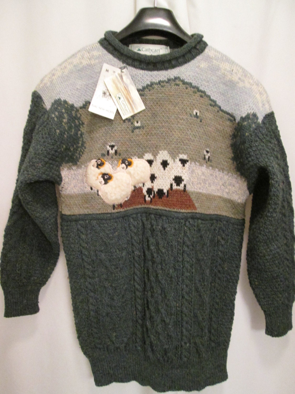 Sheep Knitting A Sweater : Vintage cathcart hand knit felted sheep scottish sweater in