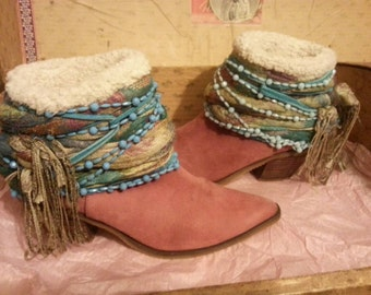 On SALE Up Cycled Bohemian Gypsy Cowgirl Boots