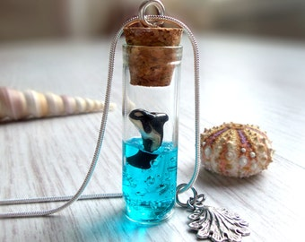 Orca necklace, ocean in a bottle necklace, whale necklace, nature lover, animal lover gift, for her, blue sea vial neckalce, animal jewelry