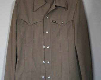 vintage  polyester western leisure suit by lee size ML
