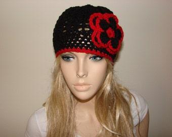 Black red Crochet Hat with Flower, Woman Fall Winter hat, Crochet Cap Beanie, Oversized Hat Knit School Girl Beret, cap