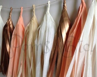 Rose gold Tassle Garland-  16 or 20 tassels, you choose- Tissue Paper garland- ANY COLOR you choose