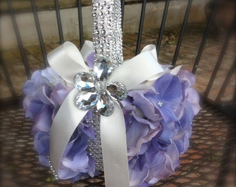 lavender/lilac flower girl basket bling wedding flower girl baskets with bling