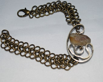 Sea Glass Bracelet Brown and White Free Form Chainmaille Bracelet