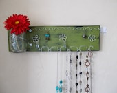 Jewelry Display Organizer Board Necklace and Earring Holder Mason Jar Woman's Wall Storage, Teal - IN STOCK CLEARANCE