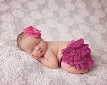Fuschia bloomer set, newborn bloomer set, fuschia photo prop, newborn photo prop, baby bloomers