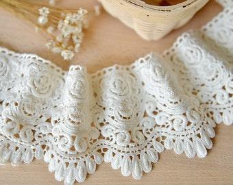 off white cotton lace trim , crochet cotton lace, retro scalloped trim lace, one yard