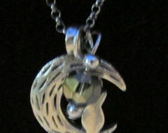 vintage Marcella kitty in the moon with crystal  pendant necklace silver tone