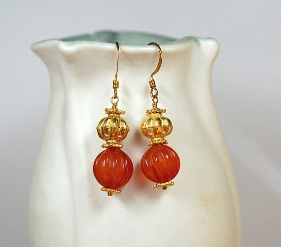 Carved carnelian earring Gold vermeil bead gemstone drop earring Orange carnelian semi precious gemstone earrings Office carnelian jewelry