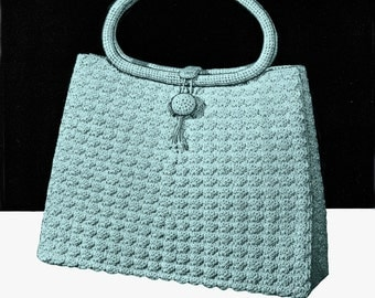 1962 Vintage CROCHET Handbag PDF Pattern, To Be Made using 9 Skeins of Crochet Cotton, PDF includes 13 pgs Basic Crochet Stitch Instructions