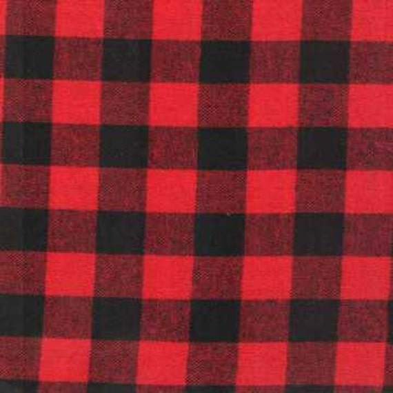 Red Amp Black Buffalo Plaid Cotton Flannel Fabric By The