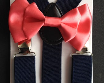 Navy Blue Suspenders and Coral Bow tie Newborn-Adult Satin Baby boy bowtie Salmon Boys Bowties Toddler Necktie Wedding Ring bearer Outfit