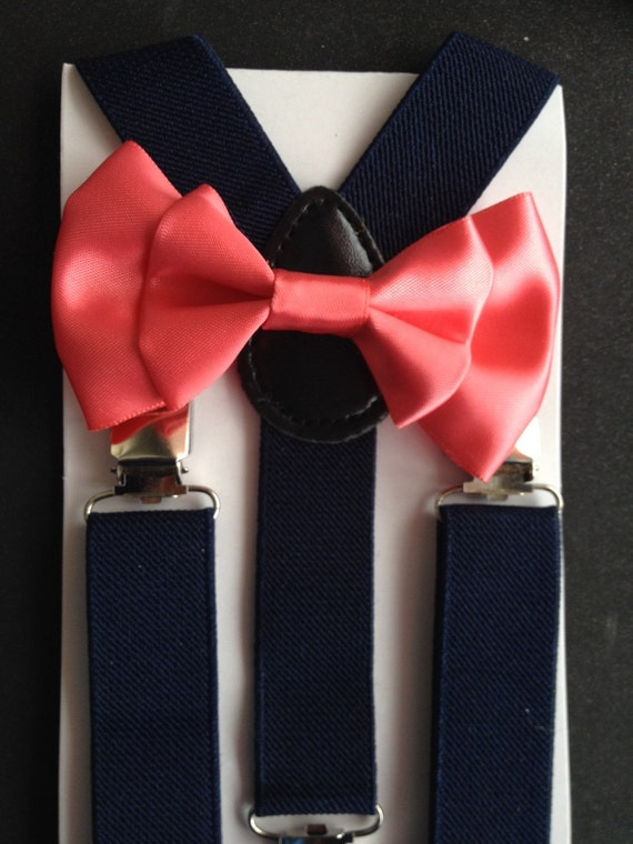 navy blue suspenders and coral bow tie newborn satin