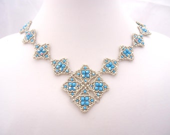 Mailye Necklace - Silver and Turquoise - Czech seed bead and Swarovski Crystal