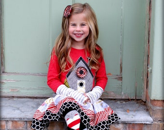 Girls Christmas Outfit  Modern Gingerbread House Shirt and Skirt Dress Set