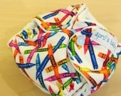 Newborn Fitted Cloth Diaper - Fits 6-12lbs, crayons