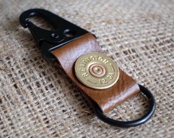 leather key ring shotgun 12 gauge key holder key chain key fob real leather bullet ring camo wedding groomsmen gift personalized leather