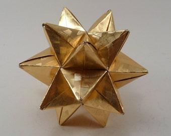 Medium Christmas Star, Christmas Ornament, Gold Star Ornament, Origami Star, Origami Ornament, Gold Foil Star