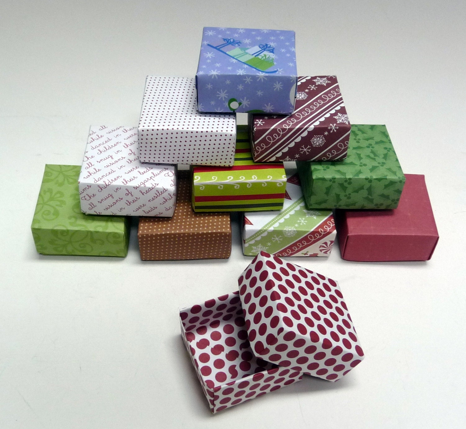 Set of small holiday gift boxes christmas box jewelry