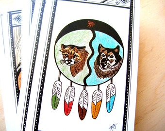 Vintage Tarot Cards - Fortune Telling Cards - Native American Tarot Deck