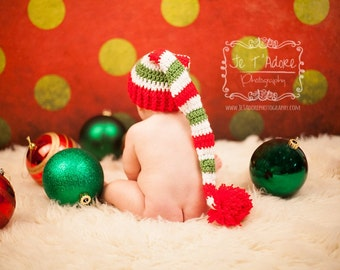 Crochet Red and Green Striped Christmas Stocking Hat