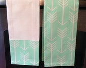 Mint and White Kitchen Towels-set of 2