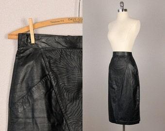 Vintage Leather Skirt  - Black Leather Skirt - Wilson Leather Skirt - Vintage 1980s Skirt  -  Vintage Pencil Skirt  -  Small
