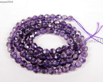 Natural Amethyst Gemstones 4mm Faceted Round Spacer Loose Beads 15'' Strand for Jewelry Making Crafts