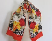 BILL BLASS silk scarf , LONG  scarves, hand rolled , floral silk scarf, vintage scarves, designer neck scarf, head wrap