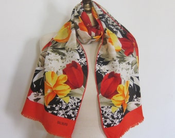 BILL BLASS silk scarf LONG hand rolled bright floral