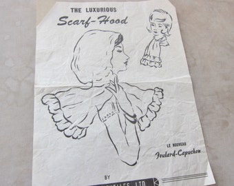 1940s  white semi sheer scarf  'The Luxurious Scarf - Hood' .  Le Nouveau Foulard - Capuchon' by Original Texties