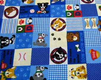 Japanese Fabric, Dog Japanese  Cotton Fabric, Kawaii Fabric, By The yard