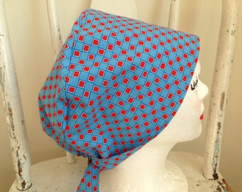 Scrub Hat Tie Back Pixie Style Blue with Red Squares