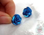 Electric Blue polymer clay Rose Studs shiny foil effect