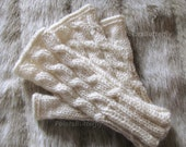 Texting gloves, Fall/ Winter fashion, wrist warmers for women/ girls/ teens, fingerless mittens, hand knit cables in cream / off white